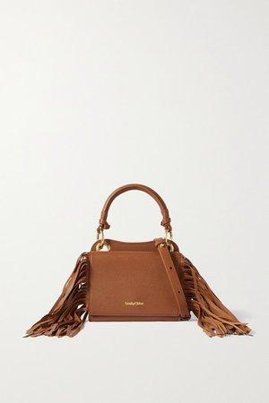 Tilda Fringed Textured-leather Tote - Tan