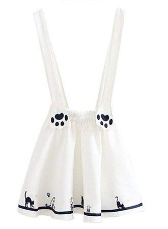 FUTURINO Women's Sweet Cat Paw Embroidery Pleated Mini Skirt with 2 Suspender at Amazon Women's Clothing store