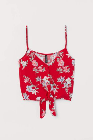 Tie-hem Camisole Top - Red