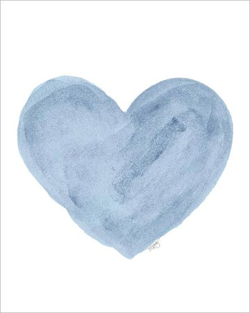 Blue Watercolor Heart Print
