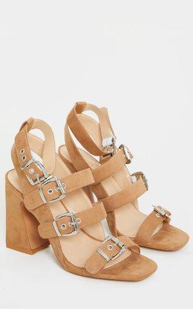 Tan Block Heel Multi Buckle Sandals | Shoes | PrettyLittleThing