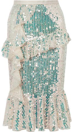 Scarlett Ruffled Sequined Tulle Midi Skirt - Gold