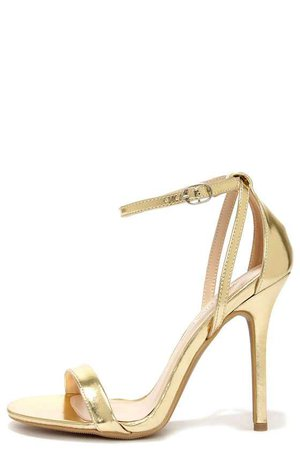GLAM SQUAD GOLD ANKLE STRAP HEELS - LULUS