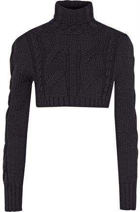 PIERRE BALMAIN Cropped cable-knit merino wool turtleneck sweater