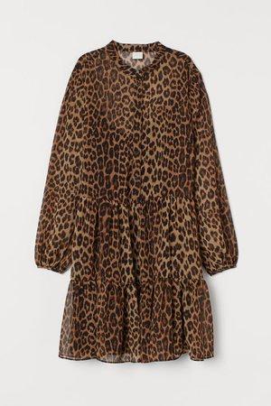 Chiffon Dress - Dark beige/leopard print - Ladies   H&M US