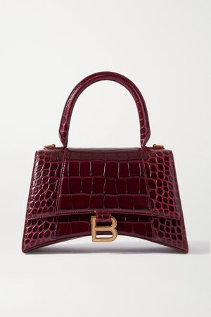 Burgundy Hourglass croc-effect leather tote | Balenciaga | NET-A-PORTER