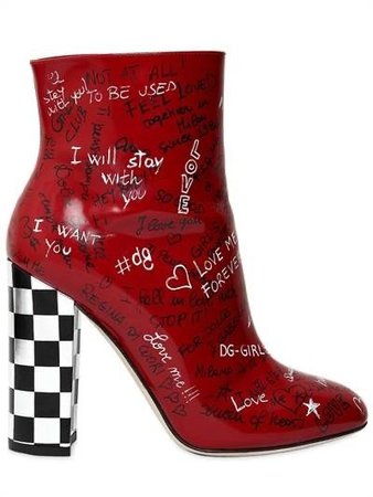 Red Heel Boot with checkered heel
