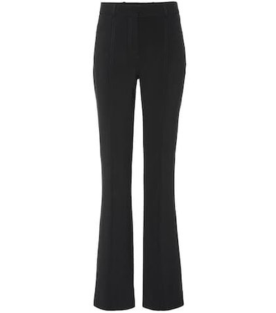 Mid-rise flared wool-blend pants