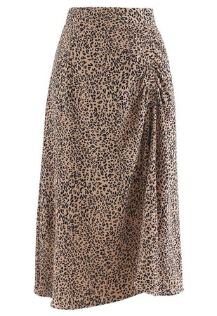 Animal Print Side Ruched Midi Skirt in Caramel - Retro, Indie and Unique Fashion