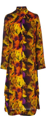 Twisted Printed Crepe De Chine Dress