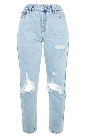 Light Wash Distressed Knee Rip Straight Leg Jeans | PrettyLittleThing USA