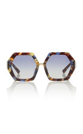 Valentino Octagon-Frame Acetate Sunglasses