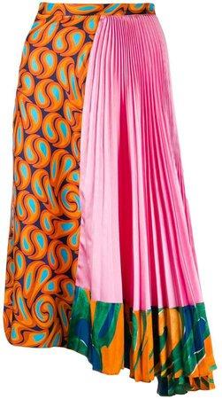asymmetric pleated print skirt