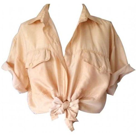 Peach Tied Up Button Up