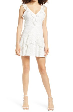 All in Favor Ruffle Tiered Lace Minidress | Nordstrom