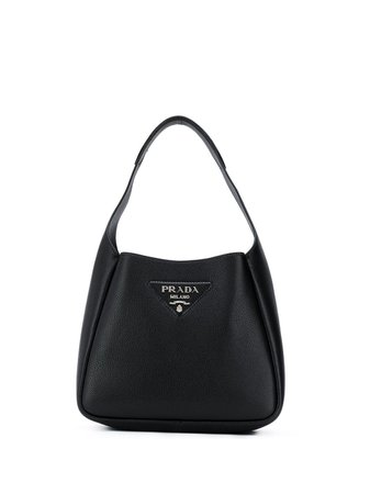Black Prada logo-lettering leather shoulder bag 1BC127VOOM2DKV - Farfetch