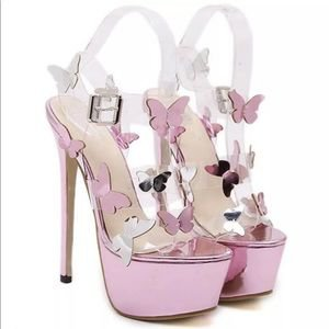Shoes | Pink Barbie Metallic Platform Butterfly Shoe Heels | Poshmark
