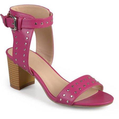 Brinley Co. - Womens Faux Leather Studded Ankle Strap High Heel - Walmart.com - Walmart.com pink