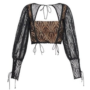 Black Lace Sleeve With Brown Underneath Crop Top