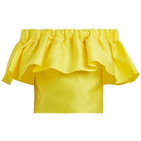 Off-the-shoulder ruffled satin cropped top from Maison Rabih Kayrouz