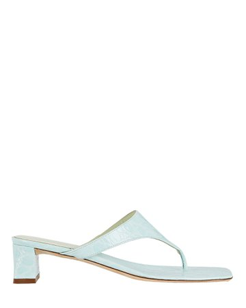 BY FAR Shawn Croc-Embossed Thong Sandals   INTERMIX®