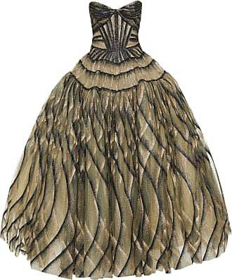 Zac Posen Patterned Chiffon Strapless Gown