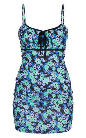 Blue Floral Print Strappy Tie Front Shift Dress   PrettyLittleThing USA