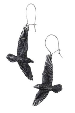 Black Raven Earrings by Alchemy Gothic   Gothic Jewellery