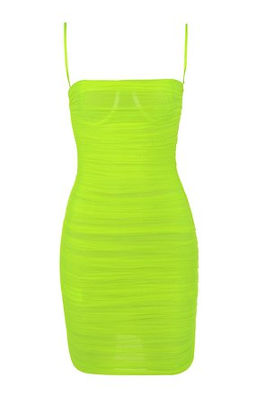 Clothing : Bodycon Dresses : 'Ella' Neon Green Ruched Organza Mesh Mini Dress