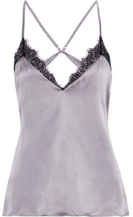 The Cecilie Open-back Lace-trimmed Silk-charmeuse Camisole