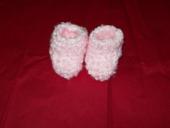 Fuzzy slipper socks Size 6 to 12 Months Baby Pink Crochet | Etsy