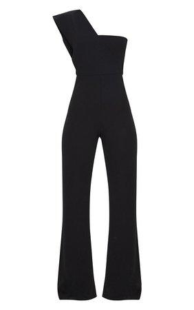 Black Drape One Shoulder Jumpsuit   PrettyLittleThing
