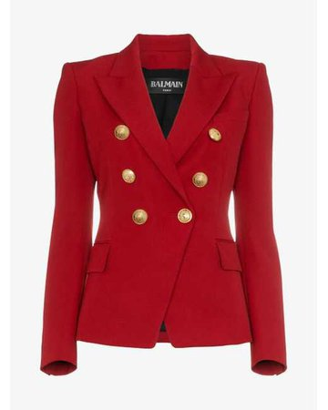 Lyst - Balmain Red Double Breasted Virgin Wool Blazer in Red