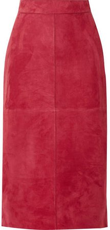 Suede Midi Skirt - Red