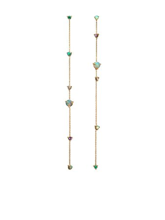WWAKE 14kt Yellow Gold Linear Chain Gemstone Earrings - Farfetch