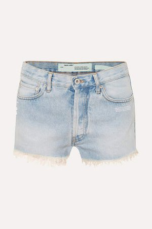 Off White Distressed Denim Shorts - Light denim