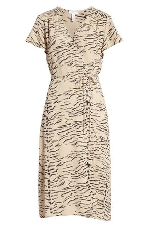 Leith Print Flutter Sleeve Wrap Dress | Nordstrom