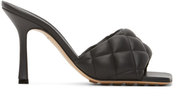Black Padded Heeled Sandals