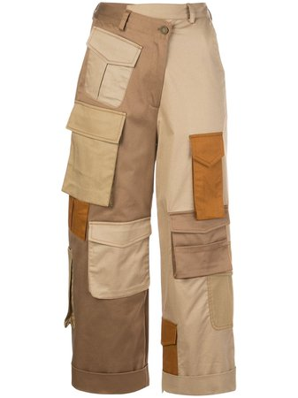 Monse cargo-pockets cropped trousers brown Farfetch
