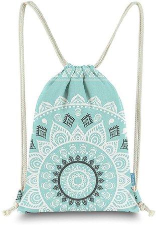 Amazon.com | Miomao Drawstring Backpack Gym Sack Pack Mandala Style String Bag With Pocket Canvas Sinch Sack Sport Cinch Pack Christmas Gift Bags Beach Rucksack 13 X 18 Inches Fair Aqua | Drawstring Bags