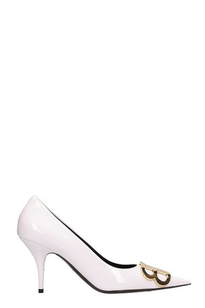 Balenciaga Bb White Patent Leather Pumps