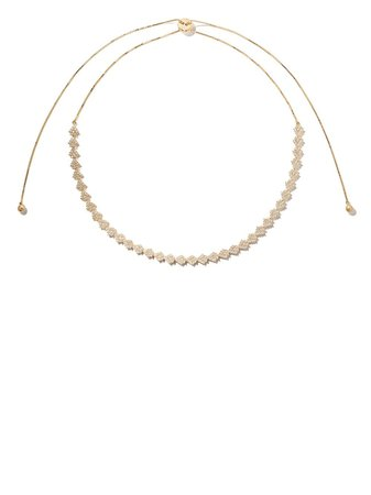As29 18Kt Yellow Gold Indiana Flower Diamond Choker Necklace Ss20 | Farfetch.Com