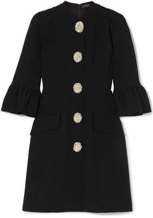 Crystal-embellished Ruffled Woven Mini Dress - Black