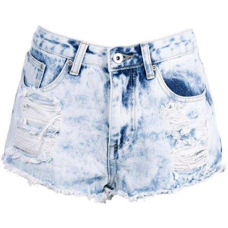 Boohoo Blue Zoe Bleach Wash Distressed Denim Hotpant