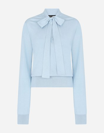 Women's Sweaters and Cardigans in Turquoise   Silk blouse with pussy bow   Dolce&Gabbana