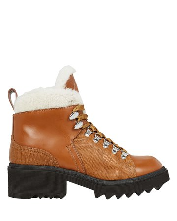 Bella Shearling-Lined Combat Booties