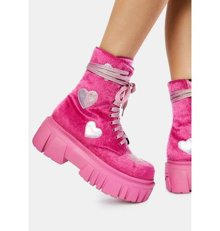 Club Exx Fuzzy Boots With Hearts - Pink | Dolls Kill