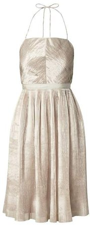 Heritage Pleated Halter Fit-and-Flare Dress
