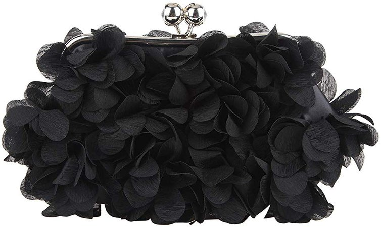 Fawziya Floral Clutch Purses For Women Satin Evening Bag-Black: Handbags: Amazon.com