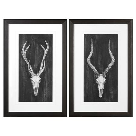 Western Rustic Lodge Charcoal Skull Print - Set of 2 | Kathy Kuo Home